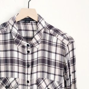 Sanctuary Plaid Boyfriend Shirt Size Large